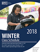 The Renton Technical College winter class schedule cover featuring a massage therapy student giving someone a massage.