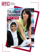 The Renton Technical College student handbook cover featuring nursing students.