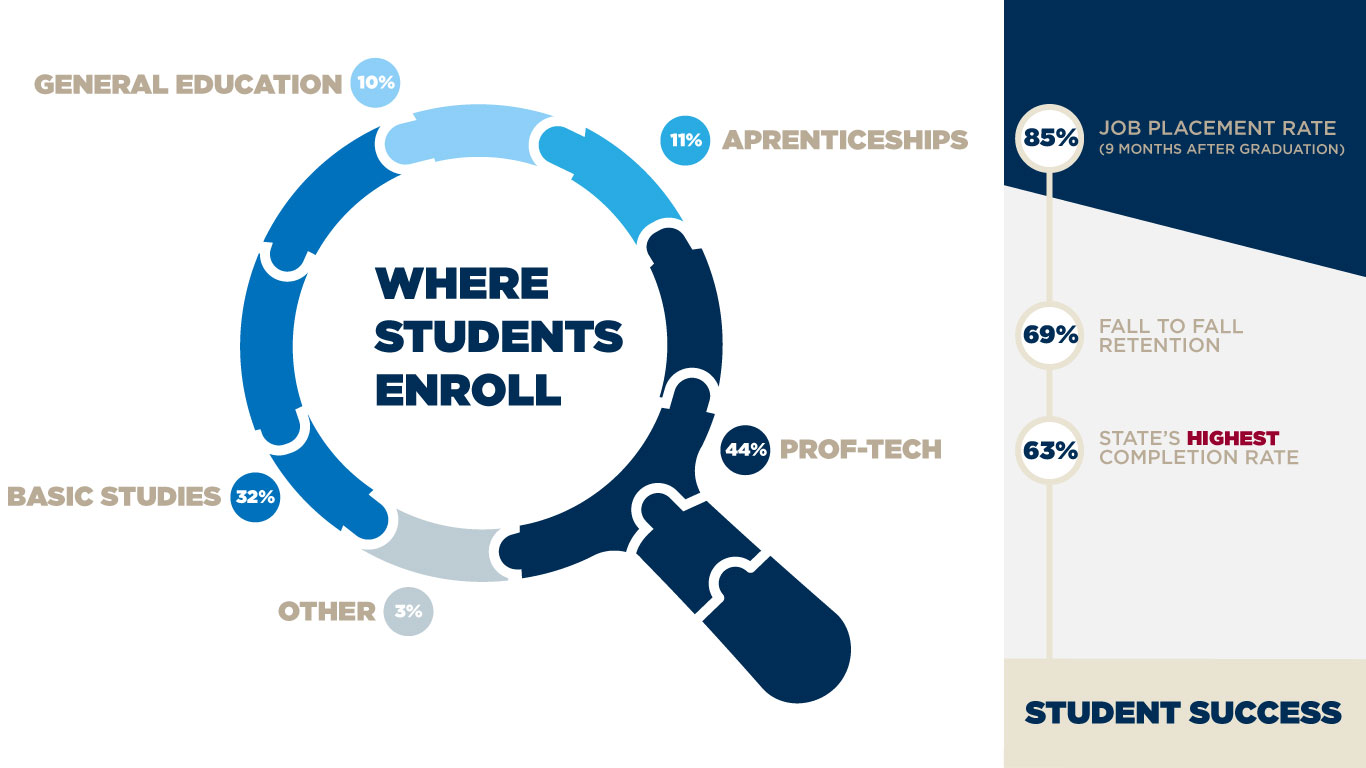 Visualization data on where our students enroll and their success rates