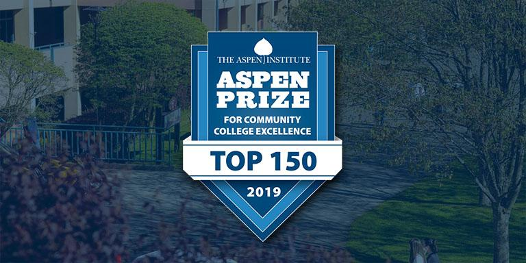 The 2019 Aspen Price logo which includes a blue shield image with the text Aspen Prize for Community College Excellence, Top 150 for 2019