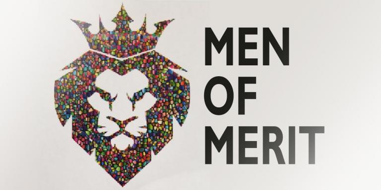 Men of Merit logo: multicolored lionhead with crown