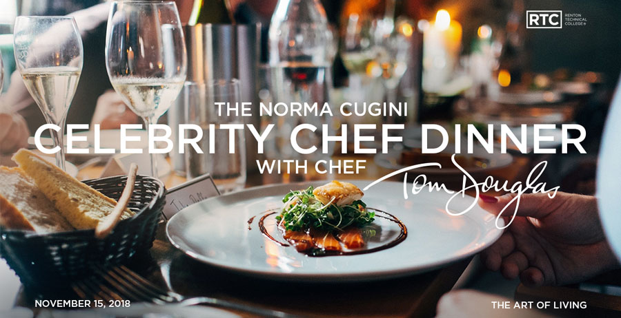 A formal dinner plate; text overlay says: The Norma Cugini Celebrity Chef Dinner with Chef Tom Douglas; November 15, 2018; The Art of Living; RTC logo